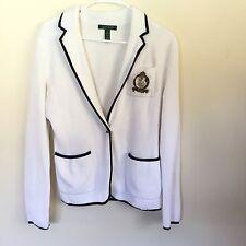 Ralph Lauren Small Blazer Jacket Crest Patch White Blue Trim Nautical Knit