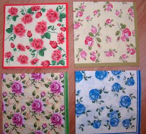 3 different sets paper napkins, small roses, serviette, 33cm- 2pcs, decoupage