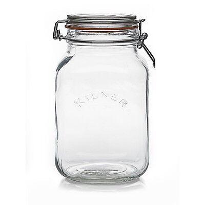 Kilner 2L Square Jar - Preserve / Storage / Airtight 2 Litre Glass Clip Top Jar