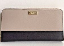 NWT Kate Spade Neda Laurel Way Leather Zip Around wallet Mouse frost / Black
