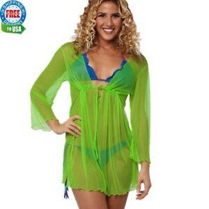 42d16fce3036 coqueta Mesh Bikini Cover Up See through Dress TUNIC SHEER green new ...