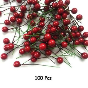 100X-Artificial-Red-Holly-Berry-Christmas-Decor-On-Wire-Bundle-Garland-Wreath-BF