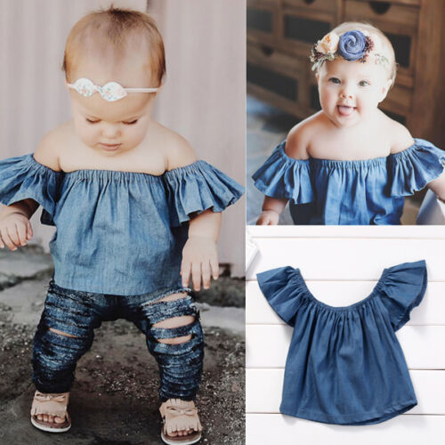 Toddler Baby Girls Kids Off-shoulder Clothes Demin T-Shirt Blouse Shirt Tops Tee