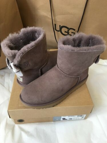 1 of 1 - UGG W MINI BAILEY BOW II VELVET RIBBON BOOTS STORMY GRAY SIZE
