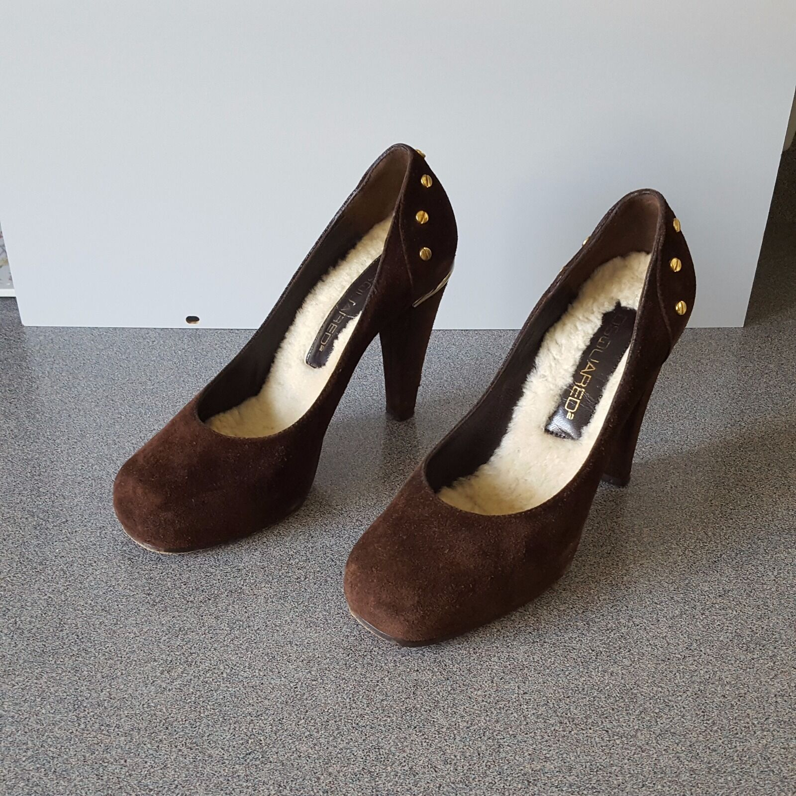 DSQUARED2 WOMEN BROWN SUEDE 4'' HEELS SIZE 36 MADE IN ITALY