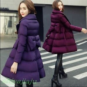 Bowknot Korea Style Womens Outwear Warm Winter Coat Sød Chic Slim Bomuld Puffer xXFn6UdF