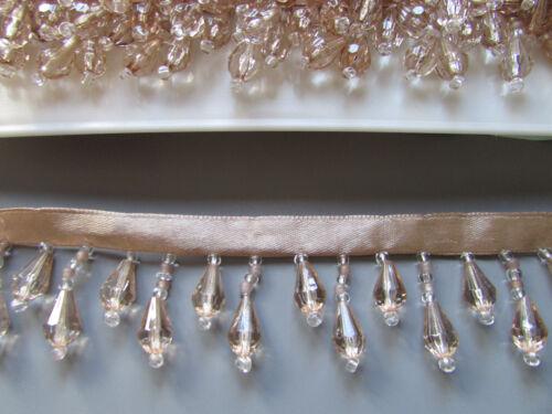 ORO//CHAMPAGNE Frangia con Perline//finitura di alta qualità 45/% di vetro Costume//Artigianato//Corsetteria