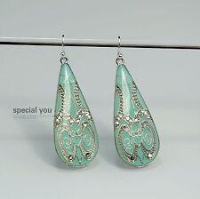 Boucles d`Oreilles Argenté Goutte Email Turquoise Art Deco Class Simple DD9