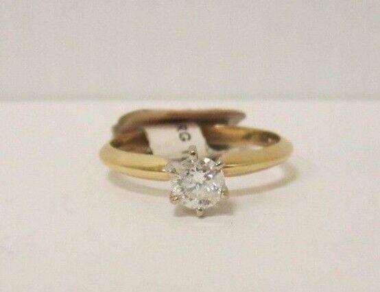 (RI1) Ladies 14K Yellow gold Solitaire Diamond Ring - sz. 6 - 2 g - .38 TCW