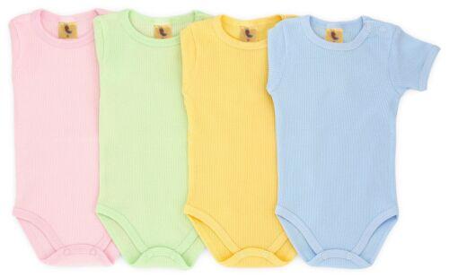 Baby Set Body 4-tlg Bunt Feinripp Kurzarm Größe 56 62 68 104 Junge Mädchen
