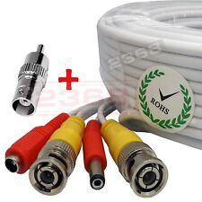 3 Lot 100ft Security Camera Cable CCTV Video Power Wire BNC RCA White Cord DVR