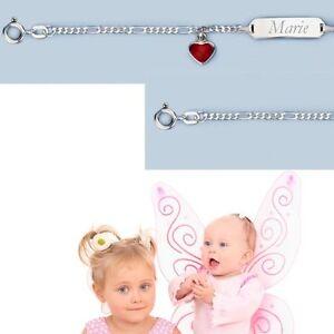 Echt Silber 925 Baby Geburt Taufe Ident Armband Mit Rotem Herz Und Namen Gravur Geschickte Herstellung