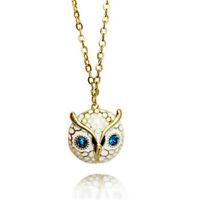 Vintage crystal eye gold tone enamel owl charm necklace