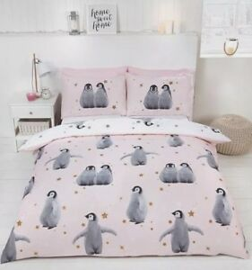Christmas Bedding.Details About Starry Penguins Pink Quilt Cover Reversible Girls Christmas Bedding Set Free P P