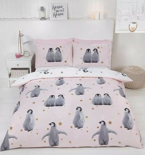 Starry Penguins Pink Quilt Cover Reversible Girls Christmas Bedding Set FREE P/&P