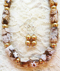 Image Is Loading Unusual Opaque Translucent Millefiori Bd Gl Pearl Necklace