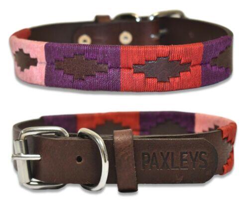 Paxleys Handmade Dog Collar100/% LeatherPolo DesignRed Berry and Purple