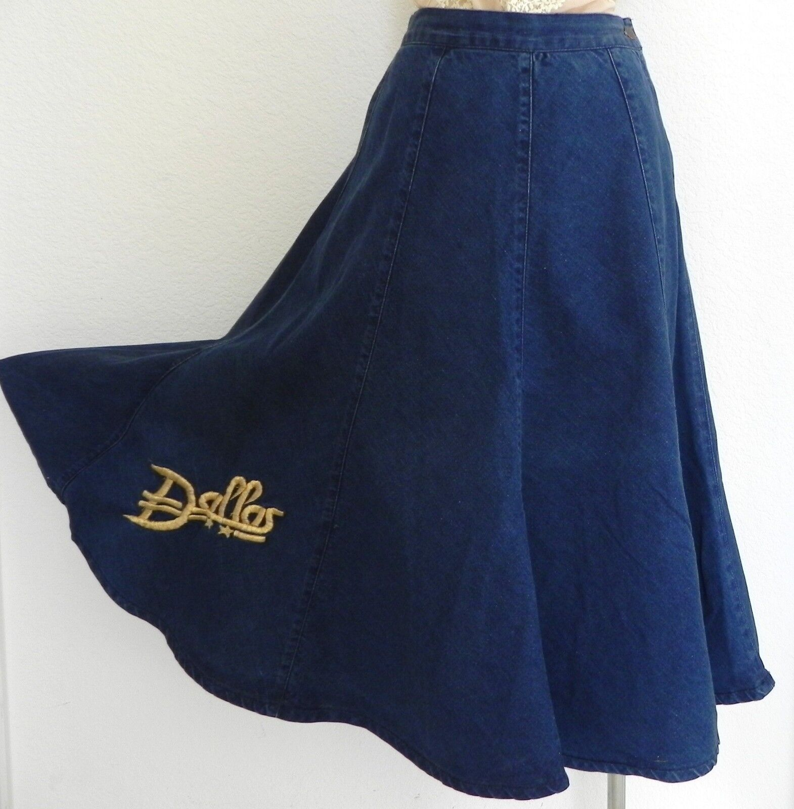 Vtg Vizette Vik denim Skirt Embroidered Dallas Logo Flared A-Line Swing Size XS
