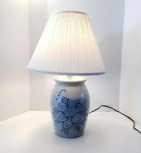 Eldreth-Pottery-Lamp-Floral-Design-EUC-Signed-On-Bottom-Gray-Cobalt-Blue-Wired