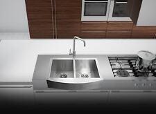 """33"""" 16Ga Handmade Stainless Steel FarmHouse Apron 50/50 Double Bowl Kitchen Sink"""