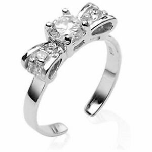 .925-Sterling-Silver-Bow-w-Clear-Solitaire-CZ-Gem-Toe-Ring (toe-9L)