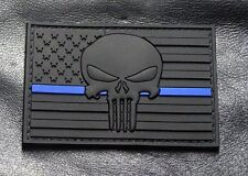 Punisher Skull Thin Blue Line USA Flag Police Swat 3D PVC Rubber Hook Patch