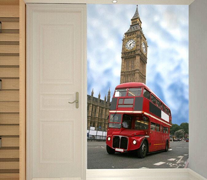 3D Big Ben ROT Bus 73 Wall Paper Murals Murals Murals Wall Print Wall Wallpaper Mural AU Kyra d157e2