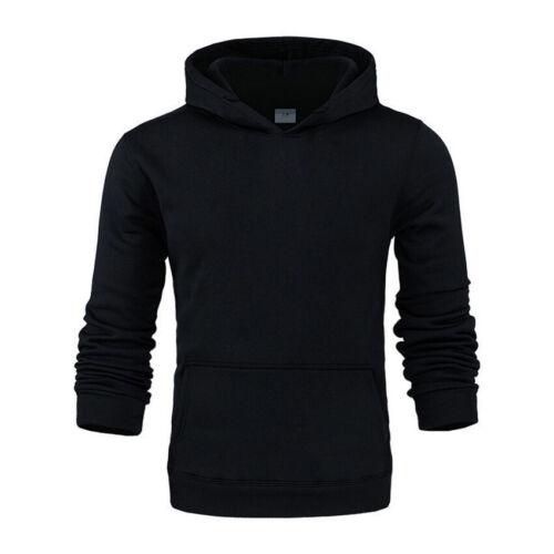 Mens Fashion Fleece Pullover Sweatshirt Gym Sports Hoodie Hooded Casual Tops