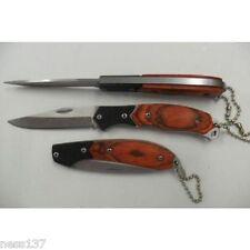 Couteau Pliant de Poche Lame Acier 6,8 cm Manche Bois 8,5 cm Style Canif