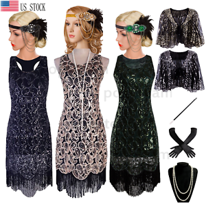 Vintage 1920s Flapper Beaded Gatsby Wedding Evening Prom Party Dress Plus Size