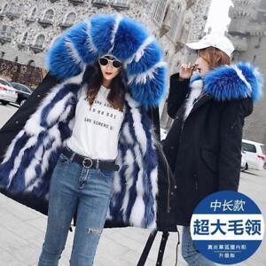 Real-Fox-Fur-Lined-Parka-Ladies-Long-Big-MInk-Fur-Collar-Hoodie-Outwear-Coat-UK
