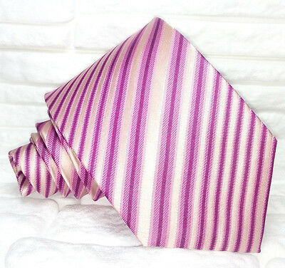 2019 Neuer Stil Krawatte Rosa Seide Gestreift Made In Italy Hochzeit / Business Morgana Uvp € 38