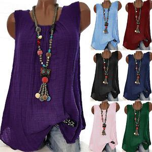 Womens-Linen-Sleeveless-Shirt-Baggy-T-shirt-Vest-Tops-Blouse-Tank-Tops-Plus-Size