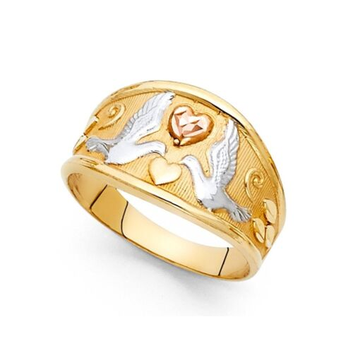 Love Birds Ring Solid 14k Yellow White Rose Gold Doves /& Hearts Tapered Band