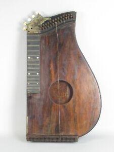 Appris Antico Strumento Musicale Cetra Legno Per Parti O Restauro 1900