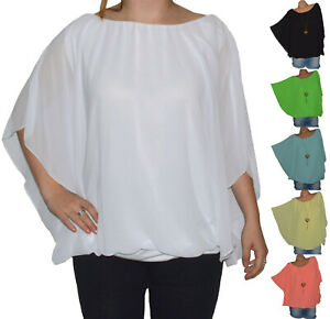 wholesale dealer 3763d 8571b Details zu ITALY TUNIKA BLUSE SHIRT CHIFFON LAGENLOOK FLEDERMAUS ÄRMEL  BALLON TOP (N°3)