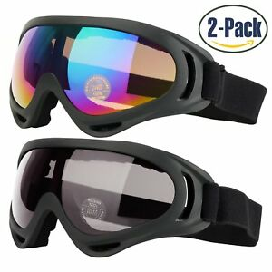 3c07e361c37 2-Pk Ski Goggles Skate Glasses UV 400 Dust-Proof Windproof Adult ...