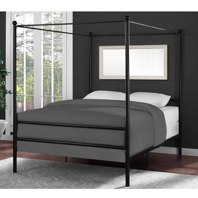 Bed Frame Full Size Canopy Metal Princess Girls Kids Bedroom Furniture  Black New