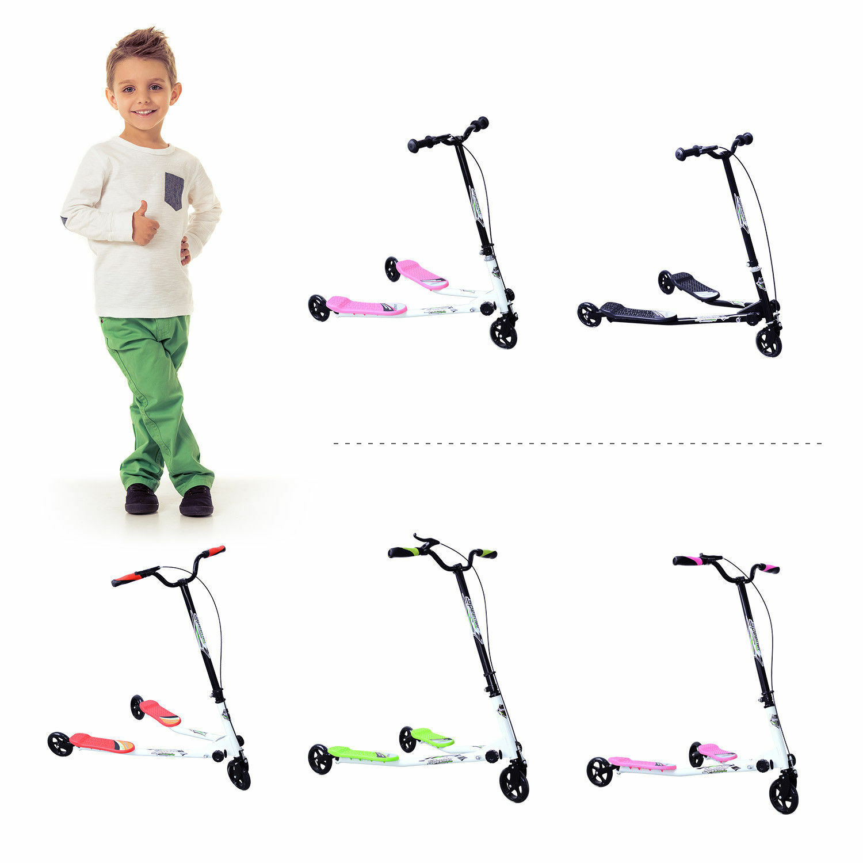 New Adjustable Kids 3 Wheels Speeder Scooter Tri Slider Winged Push Motion