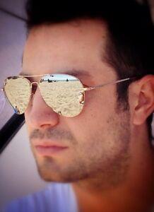 Cool Rose Gold Mens Silver Mirror Aviator Pilot Hipster