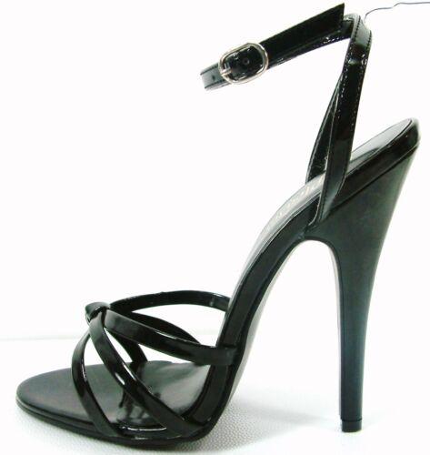 """Domina 108 Black 6/"""" Spike Heel Ankle Strap Sandal 5-16"""
