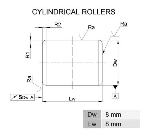 Zylinderrollen  8x8  DIN 5402  Cylindrical rollers