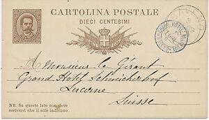 ITALIEN-1882-Koenig-Umberto-I-10-Cmi-GA-Postkarte-K1-034-BAVENO-034-u-HOTELPOST-K2