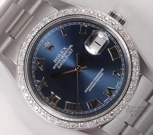 Rolex-Datejust-S-Steel-36mm-Oyster-Perpetual-Watch-Navy-Roman-Dial-Diamond-Bezel