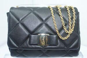 708cf5f009cb New Salvatore Ferragamo Miss Vara Bag Quilted Black Crossbody Sale ...