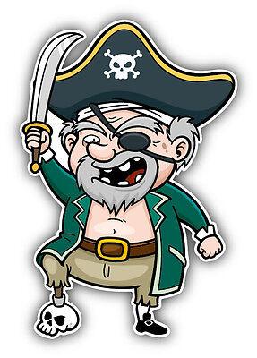 Cartoon Pirate Flag Car Bumper Sticker Decal 5/'/' x 4/'/'