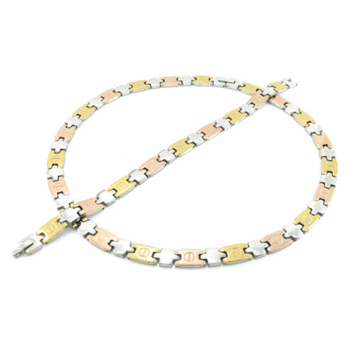 "Hugs and Kisses Femme Tri Color STAMPATO Collier 18//20/"" 7 Styles Bracelet Set"