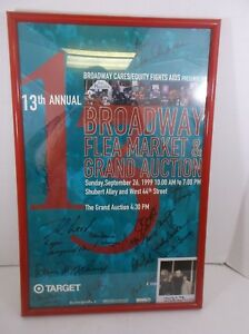 """1999 13th Annual Broadway Flea Market Poster NYC signed framed 15"""" x 23"""""""
