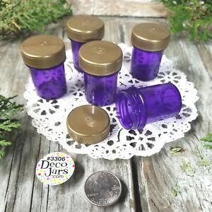 12-Tiny-Drug-Travel-Pill-Bottle-Purse-Size-Jar-PURPLE-Container-Gold-CAP-Lid