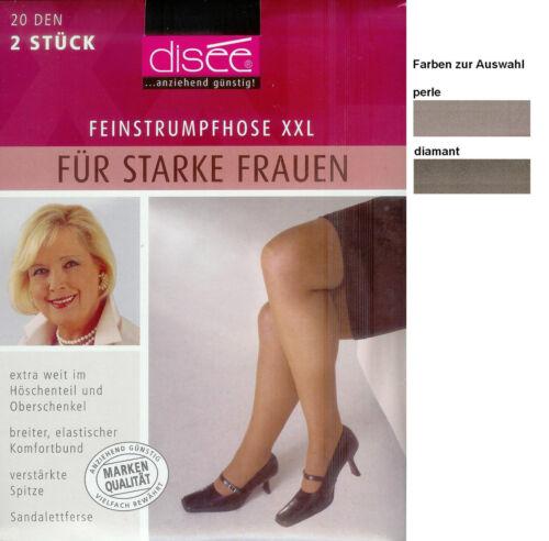 transparent-20den *disee* div.Fbn EXTRAWEIT  2 feine Strumpfhosen XL // 48-50